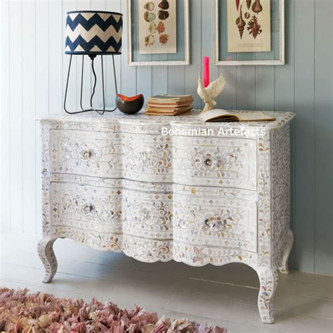 Bone Inlay Dresser Chest of Drawers with Tiger Legs