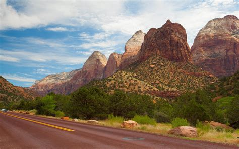 Zion National Park Utah Usa Red Road 4k Ultra Hd